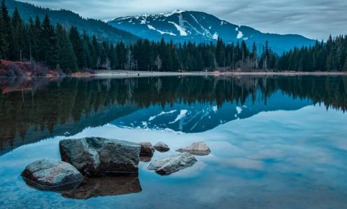 加拿大,石头,湖,景观,山
