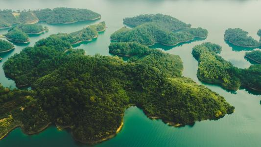 鸟瞰千岛湖风光