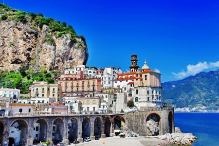 波西塔诺,阿马尔菲,意大利,波西塔诺,阿马尔菲,意大利,山脉,岩石,建筑物,桥梁