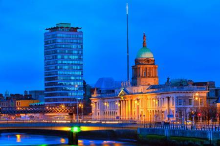 都柏林,晚上,灯光,建筑,习俗