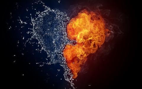 心,水,火,滴,喷,阴,阳