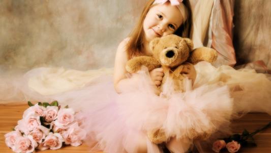 小芭蕾舞演员,玫瑰,泰迪熊