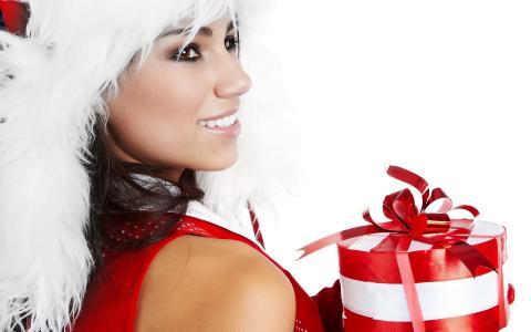 布鲁内特,在,角色,雪少女,在,白色,红色,口气,与,礼物