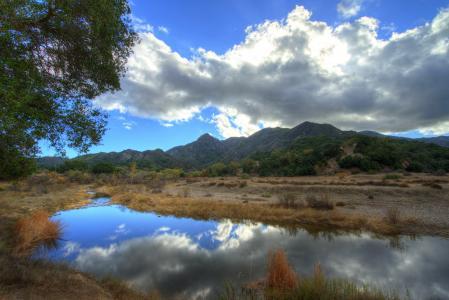 山,美国,天空,马里布,加利福尼亚州,云