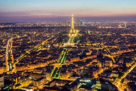 巴黎,法国,艾菲尔铁塔,夜晚,城市,巴黎,法国,艾菲尔铁塔,全景