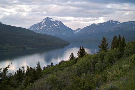 两药湖,冰川国家公园,湖,山,景观
