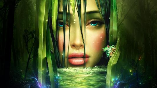 脸,水,女孩,青蛙