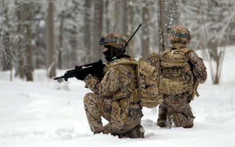 士兵,武器,拉脱维亚军队