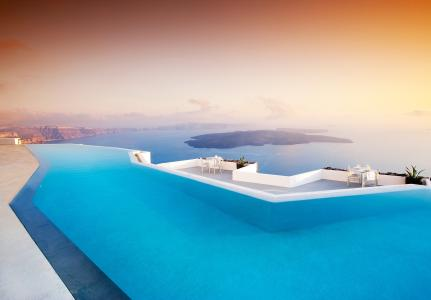 游泳池,酒店,圣托里尼,希腊,圣托里尼,希腊