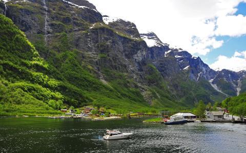 山,雪,海,水,船,性质,房子,景观