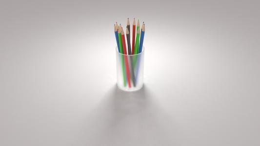 灰色,玻璃,背景,与,铅笔