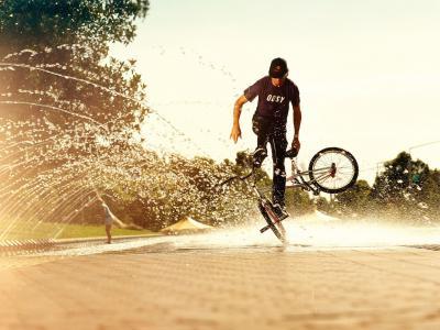 自行车,水,喷雾