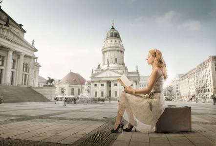 德意志大教堂,柏林,德国大教堂,柏林,手提箱,书籍,广场