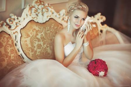 新娘,女孩,美丽