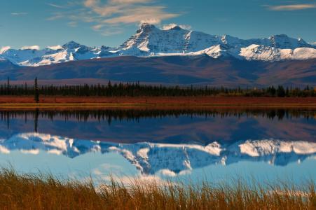 反思,山脉,天空,山谷,森林,河流