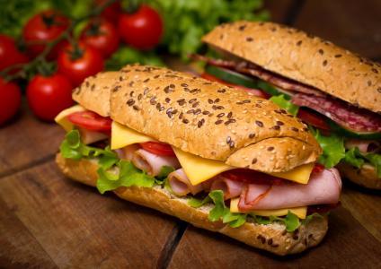 面包,三明治,三明治,面包