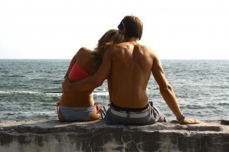 夏天,大海,爱,感情,一起