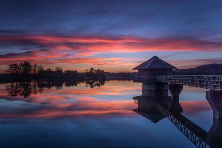 英格兰,晚上,克罗斯顿,日落,湖