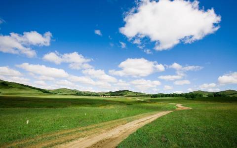 路径,景观,草,云,景观,道路,性质