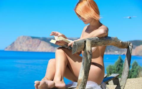 Violla A,女孩,模型,红色,短发型,店,海,海岸,书,女孩,模型,红头发,短发,店,海,海岸,书