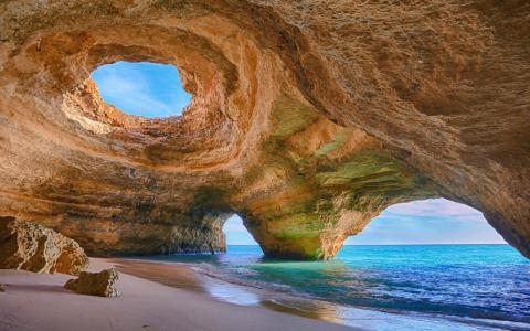 海岸,葡萄牙,海滩,不寻常的,岩石