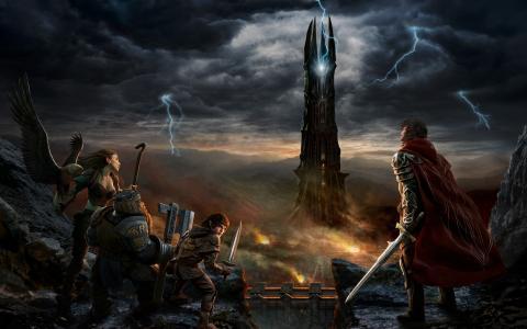 戒指之王,戒指之王,isengard,堡垒,塔,闪电,魔蝠,霍比特人,小精灵,矮人,鸟,武士,武器,职员,剑的崛起