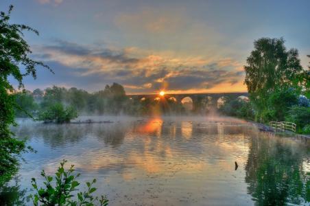 日落,河,坝,桥,树,景观