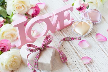 情人节,情人节,鲜花,玫瑰,礼物,花瓣,爱,心,信件