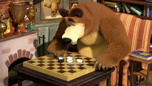 玛莎和熊,卡通,象棋,熊