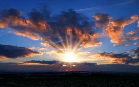 日落,太阳,今晚,天空,云,景观,性质