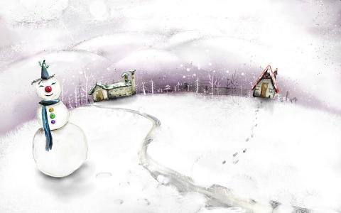绘图,房屋,雪人