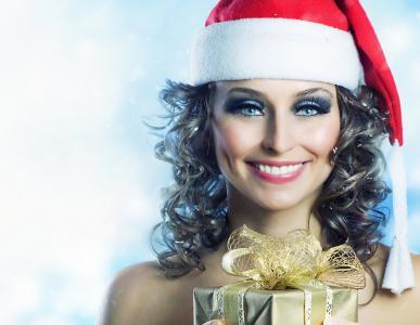 新年,女孩,礼物