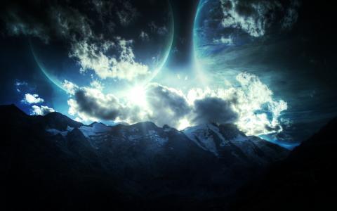 山,行星,星星,浮雕