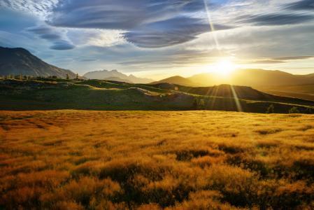 场,新西兰,丘陵,山脉