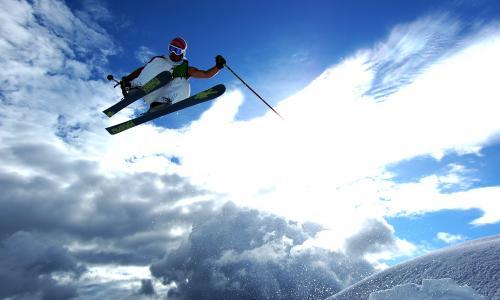 滑雪,跳,太阳,雪