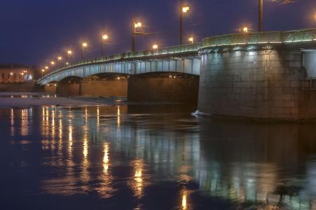 圣彼得堡,桥,铸造厂,夜,灯笼