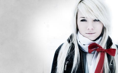 女孩,金发,红丝带
