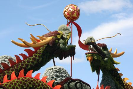 双龙戏珠植物雕塑