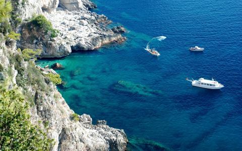 岩石,海,游艇,船