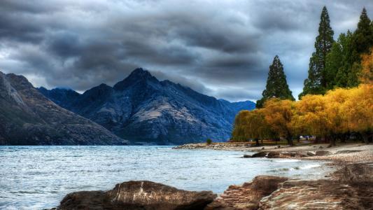 湖,云,山,秋,树,天空