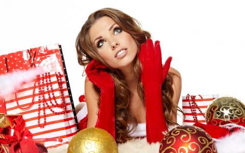 圣诞老人,女孩,壁纸