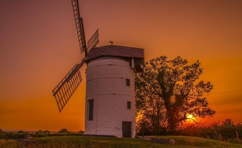 英格兰,英格兰,风车,日落,树,磨