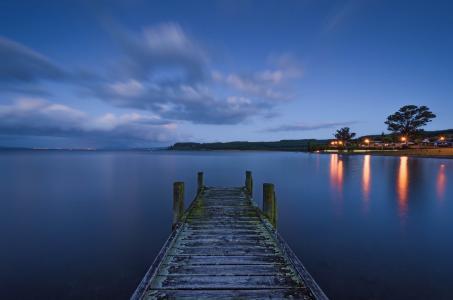 Waitetoko,新西兰,新西兰,湖,灯,桥