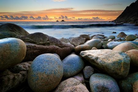 石头,云,日落,海洋,康沃尔郡,英国,英格兰,康沃尔郡,英国,英国,日落,岩石