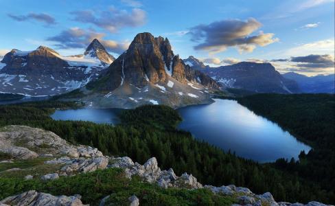 景观,山,雪,树,森林,湖泊,自然,全景,天空,云