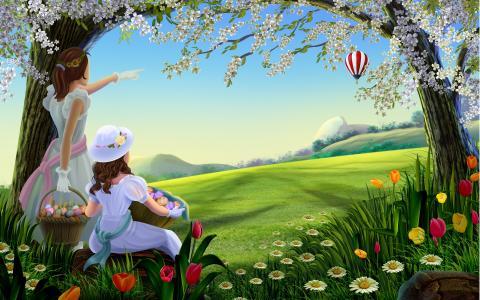 春天,绘画,壁纸