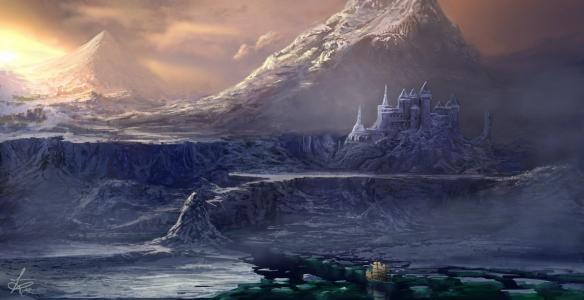 岩石,船舶,艺术,山,城堡