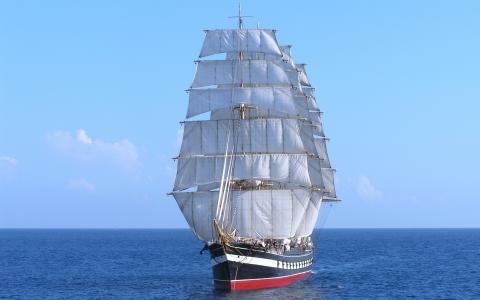 帆船,船,树皮,海,在旅途中,sailer