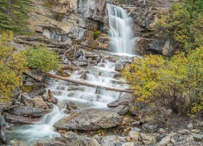 秋天,瀑布,河,岩石,景观
