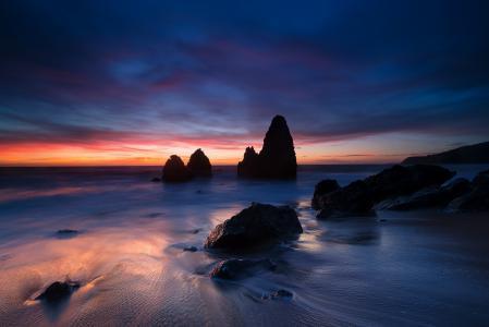 美国,加利福尼亚州,海峡,岸边,海洋